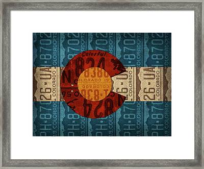 State Flag Of Colorado Recycled License Plate Art Framed Print by Design Turnpike