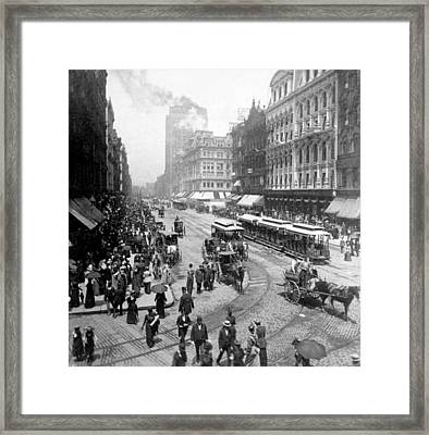 State Street - Chicago Illinois - C 1893 Framed Print by International  Images