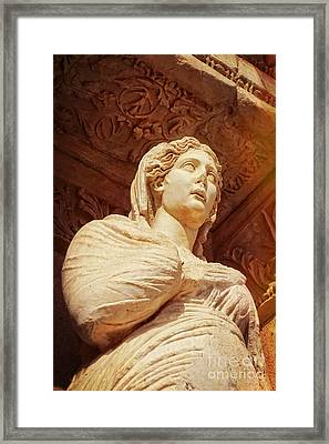 Statue At The Library Of Celsus Framed Print by HD Connelly
