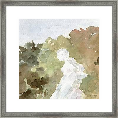 Statue Of A Woman Watercolor Paintings Of France Framed Print by Beverly Brown Prints