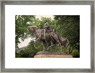 Statue Of General Robert E Lee On His Horse Traveller  Framed Print by Mountain Dreams