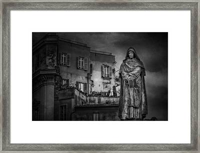 Statue Of Giordano Bruno Framed Print by Erik Brede