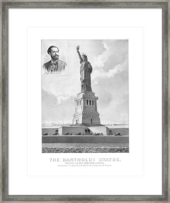 Statue Of Liberty And Bartholdi Portrait Framed Print by War Is Hell Store