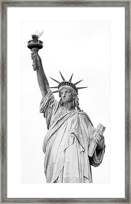 Statue Of Liberty, Black And White Framed Print by Sandy Taylor