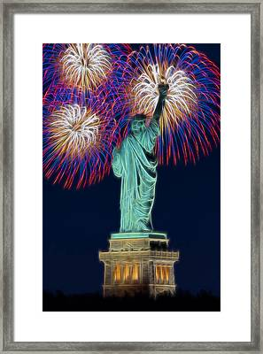 Statue Of Liberty Fireworks Framed Print by Susan Candelario