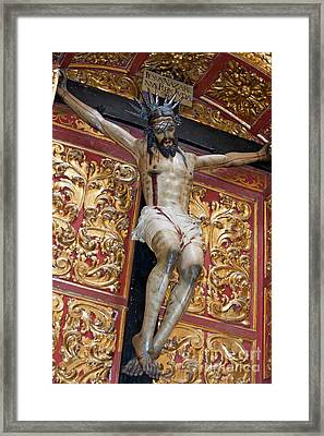 Statue Of The Crucifixion Inside The Catedral De Cordoba Framed Print by Sami Sarkis