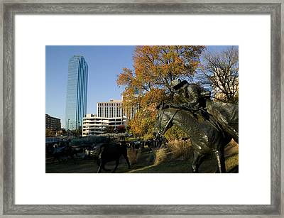 Statues In A Park, Cattle Drive Framed Print by Panoramic Images