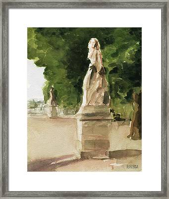 Statues Jardin Du Luxembourg Framed Print by Beverly Brown Prints
