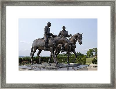 Statues Of Joseph And Hyrum Smith On Horseback In Front Of The Mormon Temple In Nauvoo, Illinois Framed Print by Niday Picture Library