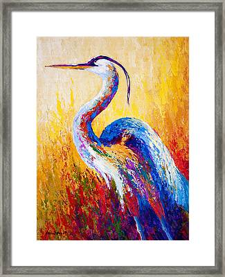 Steady Gaze - Great Blue Heron Framed Print by Marion Rose