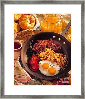 Steak And Eggs Breakfast Framed Print by Vance Fox