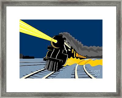 Steam Train Night Framed Print by Aloysius Patrimonio