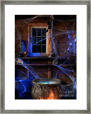 Steaming Cauldron In A Witch Cabin Framed Print by Oleksiy Maksymenko