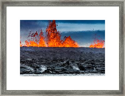 Steaming Lava And Plumes Framed Print by Panoramic Images