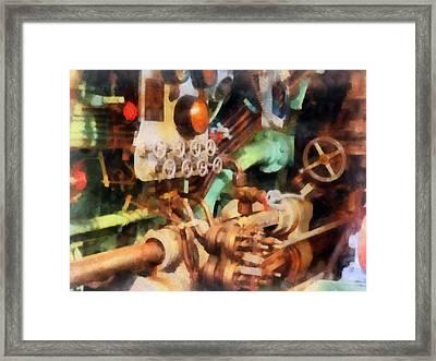 Steampunk - Torpedo Controls Framed Print by Susan Savad