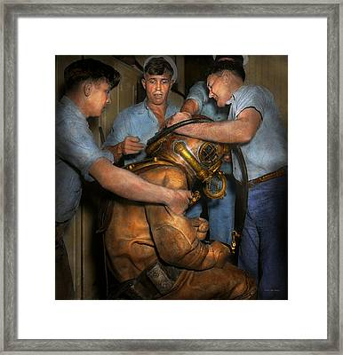 Steampunk - Diver - A Load Off My Shoulders 1936 Framed Print by Mike Savad