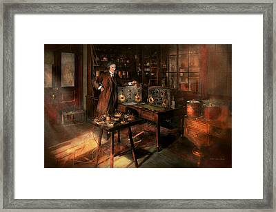 Steampunk - The Time Traveler 1920 Framed Print by Mike Savad