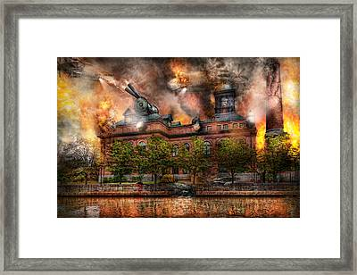 Steampunk - The War Has Begun Framed Print by Mike Savad