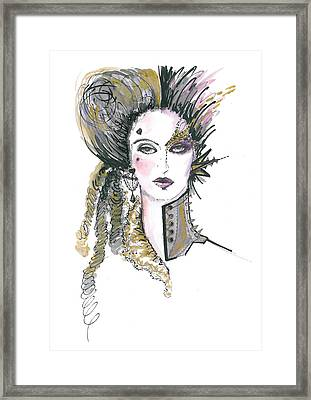 Steampunk Watercolor Fashion Illustration Framed Print by Marian Voicu