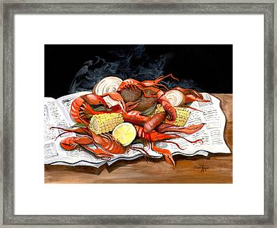 Steamy Crawfish Framed Print by Elaine Hodges