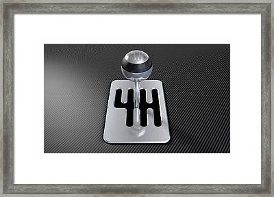 Steel And Chrome Stick Shift Framed Print by Allan Swart