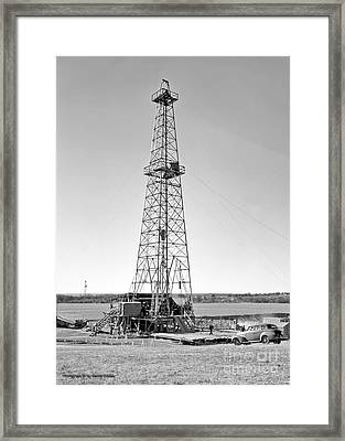 Steel Oil Derrick Framed Print by Larry Keahey