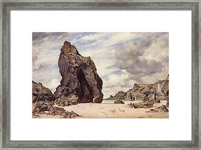 Steeple Rock, Kynance Cove, Lizard, Cornwall, Low Water, 1873 Framed Print by Edward William Cooke