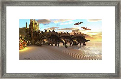 Stegosaurus Dinosaur Framed Print by Corey Ford
