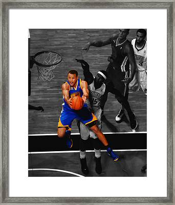 Stephen Curry In Flight Framed Print by Brian Reaves