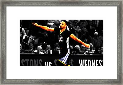 Stephen Curry Scores Again Framed Print by Brian Reaves