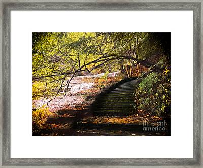 Steps At Buttermilk Falls Framed Print by Robert Gaines