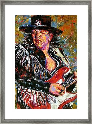 Stevie Ray Red Guitar Framed Print by Debra Hurd