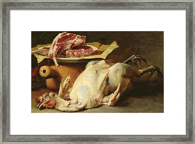 Still Life Of A Chicken And Cutlets Framed Print by Guillaume Romain Fouace
