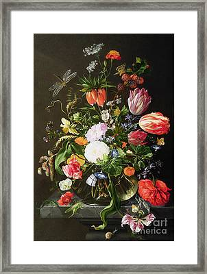 Still Life Of Flowers Framed Print by Jan Davidsz de Heem