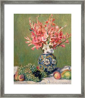 Still Life Of Fruits And Flowers Framed Print by Pierre Auguste Renoir
