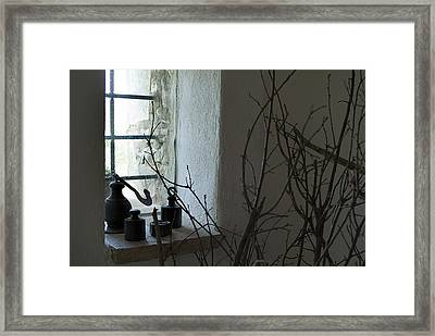 Still Life Of The Window Of A Villa Framed Print by Todd Gipstein