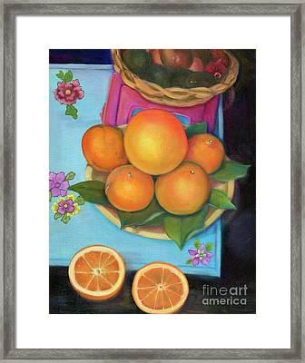 Still Life Oranges And Grapefruit Framed Print by Marlene Book
