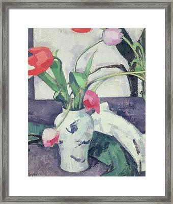 Still Life  Tulips In A Chinese Vase Framed Print by Samuel John Peploe