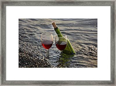 Still Life Wine At The Beach Framed Print by Valerie Garner