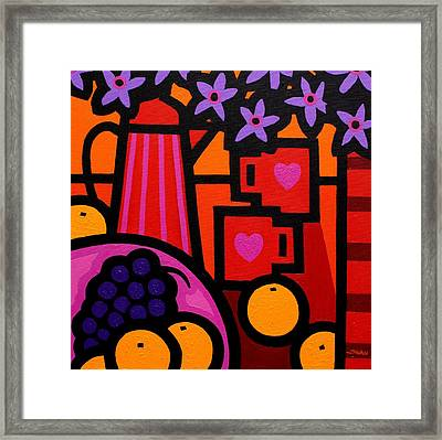Still Life With 2 Hearts Framed Print by John  Nolan