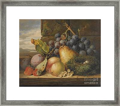 Still Life With A Bird's Nest, A Pear, A Peach, Grapes, Strawberries And Plums Framed Print by Celestial Images