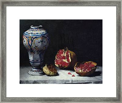 Still Life With A Pomegranate Framed Print by Auguste Theodule Ribot