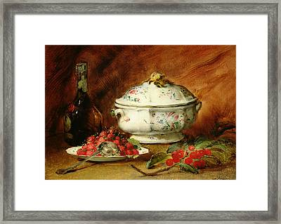 Still Life With A Soup Tureen Framed Print by Guillaume Romain Fouace