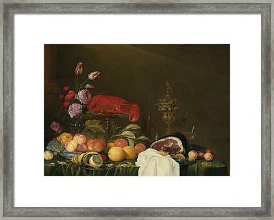 Still Life With A Vase Of Roses And Tulips Framed Print by MotionAge Designs