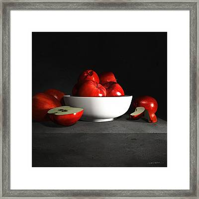 Still Life With Apples Framed Print by Cynthia Decker