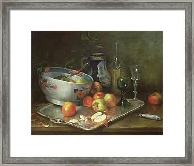 Still Life With Apples Framed Print by Eugene Henri Cauchois
