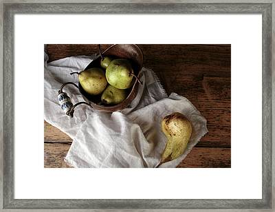Still-life With Arrangement Of Pears  Framed Print by Nailia Schwarz