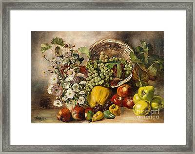 Still Life With Asters And Basket Of Fruit Framed Print by Celestial Images