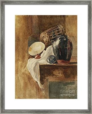 Still Life With Basket And Pitcher Framed Print by Peter De Wint