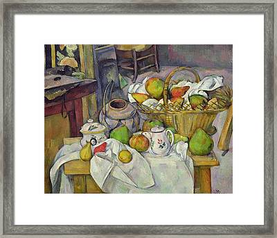Still Life With Basket Framed Print by Paul Cezanne